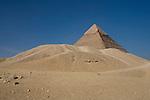 The Pyramids of Giza in the desert near Cairo, Egypt.