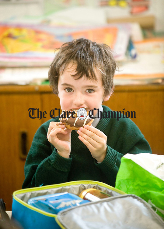 Seamus Honan enjoying a snack at Clooney National School. Photograph by Declan Monaghan
