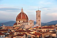 Cathedral Santa Maria del Fiore, Florence, Italy , also known as the Duomo, begun in 1296 by Arnolfo di CAMBIO, dome by Filippo BRUNELLESCHI, 1377-1446, completed in 1436, Bell Tower designed by GIOTTO, 1267-1337 pictured on June 10 2007.