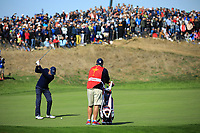 Justin Thomas (Team USA) during the Saturday Fourballs at the Ryder Cup, Le Golf National, Paris, France. 29/09/2018.<br /> Picture Phil Inglis / Golffile.ie<br /> <br /> All photo usage must carry mandatory copyright credit (© Golffile | Phil Inglis)