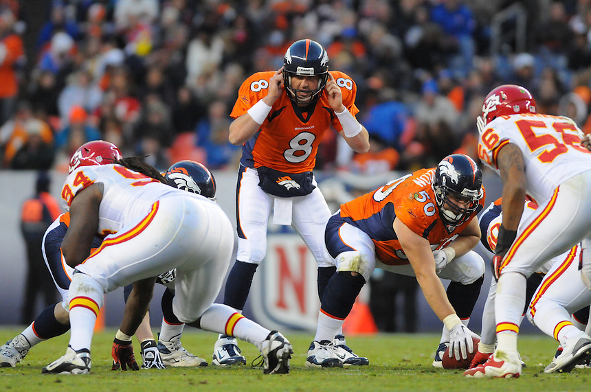 14 NOVEMBER 2010:  Broncos quarterback Kyle Orton  during a regular season National Football League game between the Kansas City Chiefs and the Denver Broncos at Invesco Field at Mile High in Denver, Colorado. The Broncos beat the Chiefs 49-29.