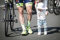 Timothy Dupont (BEL/Wanty Groupe Gobert) job done.  heading home with his kid.<br /> <br /> GP Marcel Kint 2018 <br /> Kortrijk > Zwevegem 174.8km (BELGIUM)