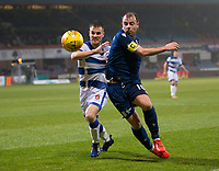 1st November 2019; Dens Park, Dundee, Scotland; Scottish Championship Football, Dundee Football Club versus Greenock Morton; Paul McGowan of Dundee challenges for the ball with Kyle Jacobs of Greenock Morton  - Editorial Use