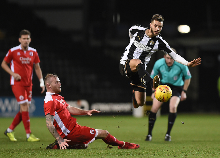 Notts County's Jorge Grant jumps over Crawley Town&rsquo;s Mark Connolly<br /> <br /> Photographer Jon Hobley/CameraSport<br /> <br /> The EFL Sky Bet League Two - Notts County v Crawley Town - Tuesday 23rd January 2018 - Meadow Lane - Nottingham<br /> <br /> World Copyright &copy; 2018 CameraSport. All rights reserved. 43 Linden Ave. Countesthorpe. Leicester. England. LE8 5PG - Tel: +44 (0) 116 277 4147 - admin@camerasport.com - www.camerasport.com