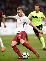 Calcio, Serie A: Milano, stadio Giuseppe Meazza (San Siro), 1 ottobre 2017.<br /> Roma's Edin Dzeko in action during the Italian Serie A football match between Milan and AS Roma at Milan's Giuseppe Meazza (San Siro) stadium, October 1, 2017.<br /> UPDATE IMAGES PRESS/IsabellaBonotto