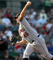Indianapolis Indians starting pitcher Justin Wilson #45 delivers a pitch during a game against the Rochester Red Wings at Frontier Field on June 18, 2011 in Rochester, New York.  Rochester defeated Indianapolis 12-7.  (Mike Janes/Four Seam Images)