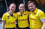 Den Bosch  -  scheidsrechters Michelle Meister (Ger), Ivona  Makar (CRO) , Jacub Mejzlik (CZE)    voor  de Pro League hockeywedstrijd dames, Nederland-Belgie (2-0).  COPYRIGHT KOEN SUYK