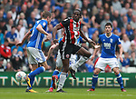 Clayton Donaldson of Sheffield Utd directs a header towards goal during the championship match at St Andrews Stadium, Birmingham. Picture date 21st April 2018. Picture credit should read: Simon Bellis/Sportimage