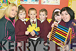 Family fun: Some of the Junior Infants pupils of St Joseph's Primary School in Ballybunion who took part in the Maths For Fun programme with parents on Tuesday morning. Louise and Leah Nagle, Dillon Moriarty, Evan Mulcare and Tamzin and Caroline Reah.