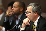 Nevada Sens. Aaron Ford, D-Las Vegas, left, and Greg Brower, R-Reno, work in committee at the Legislative Building, in Carson City, Nev., on Thursday, Feb. 19, 2015. <br /> Photo by Cathleen Allison