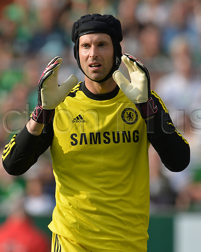 03.08.2014. Bremen, Germany.  Chelsea's goal keeper Petr Cech during the soccer friendly match between Werder Bremen and FC Chelsea at Weserstadion in Bremen, Germany.