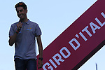 An injured Fabio Aru ( ITA) Astana on stage at theTeam Presentation in Alghero, Sardinia for the 100th edition of the Giro d'Italia 2017, Sardinia, Italy. 4th May 2017.<br /> Picture: Eoin Clarke | Cyclefile<br /> <br /> <br /> All photos usage must carry mandatory copyright credit (&copy; Cyclefile | Eoin Clarke)