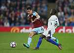 Jack Cork of Burnley tackles Ngolo Kante of Chelsea during the premier league match at the Turf Moor Stadium, Burnley. Picture date 19th April 2018. Picture credit should read: Simon Bellis/Sportimage