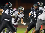 Lawndale, CA 09/29/17 - Tuli Tuipulotu (Lawndale #45), Keyahn Pinkston (Lawndale #55) and Ethan Meyers (Torrance #4) in action during the Torrance vs Lawndale CIF Varsity football game at Lawndale High School.   Lawndale defeated Torrance 42-0.