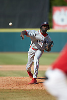 Lakewood BlueClaws relief pitcher Oscar Marcelino (35) delivers a pitch to the plate against the Hickory Crawdads at L.P. Frans Stadium on April 28, 2019 in Hickory, North Carolina. The Crawdads defeated the BlueClaws 10-3. (Brian Westerholt/Four Seam Images)
