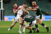 4th November 2017, Sydney Football Stadium, Sydney, Australia; Rugby League World Cup, England versus Lebanon; Ben Currie of England is tackled by Jamie Clark of Lebanon