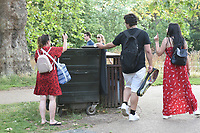 Extra litter bins in place for rubbish in Regents Park during the coronavirus pandemic