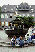Goslar: Fountain in Marktplatz--2 bronze basins and crowned Imperial Eagle, 1230. Photo '87.