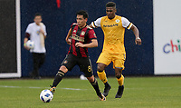 Nashville, TENN. - Saturday February 10, 2018: Ezequiel Barco during a preseason exhibition match between Nashville SC vs Atlanta United FC at First Tennessee Park.