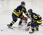 Tom McCarthy (Merrimack - 6), Steven Whitney (BC - 21), Ben Bahe (Merrimack - 17) - The Boston College Eagles defeated the visiting Merrimack College Warriors 4-3 on Friday, November 16, 2012, at Kelley Rink in Conte Forum in Chestnut Hill, Massachusetts.