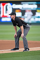 First base umpire Alex Tosi during the International League game between the Durham Bulls and the Charlotte Knights at BB&T BallPark on May 16, 2017 in Charlotte, North Carolina.  The Knights defeated the Bulls 5-3. (Brian Westerholt/Four Seam Images)