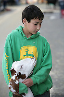 Petey Johnston, 12, of Custer with his boar goat at  the NW Washington Fair on August 18, 2009. Photo by Meryl Schenker..       ..schenker IMG_0332.JPG