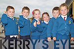 Three sets of Twins at Rory and Adam Flaherty, Saidhbh and Eimear Cotter and Coel and Amelia Hayes pictured on their first day of school at Balloonagh primary, Tralee on Thursday.