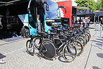 Bora-Hansgrohe team Specialized bikes lined up outside the team bus before Stage 1 of the 2019 Giro d'Italia, an individual time trial running 8km from Bologna to the Sanctuary of San Luca, Bologna, Italy. 11th May 2019.<br /> Picture: Eoin Clarke | Cyclefile<br /> <br /> All photos usage must carry mandatory copyright credit (© Cyclefile | Eoin Clarke)