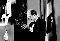 June 5, 1985 File Photo - Charles Bronfman,owner of the Montreal Expos<br />  speak at the Queen Elizabeth Hotel<br /> <br /> PHOTO :  Agence Quebec Presse
