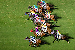 Jockeys riding their horses during Hong Kong Racing at Happy Valley Racecourse on October 24, 2018 in Hong Kong, Hong Kong. Photo by Yu Chun Christopher Wong / Power Sport Images