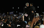 Former U.S President Bill Clinton, left and Presidential candidate Barack Obama, right, during an election rally   in Kissimmee,  Fla Wednesday Oct 29 2008.  Americans will go to the polls on Nov 4, at a time of great Financial crisis, war in Iraq and Afghanistan, to elect a  new President. A vote, that will affect not only America, but the whole world. Photo by Eyal Warshavsky .