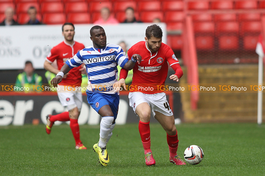 Royston Drenthe of Reading challenges Astrit Ajdarevic of Charlton Athletic - Charlton Athletic vs Reading - Sky Bet Championship Football at the Valley, London - 05/04/14 - MANDATORY CREDIT: George Phillipou/TGSPHOTO - Self billing applies where appropriate - 0845 094 6026 - contact@tgsphoto.co.uk - NO UNPAID USE
