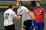 GER - Mannheim, Germany, November 28: During the 1. Bundesliga Sued Herren indoor hockey match between Mannheimer HC (red) and TG Frankenthal (white) on November 28, 2015 at Irma-Roechling-Halle in Mannheim, Germany. Final score 7-7 (HT 3-3). (Photo by Dirk Markgraf / www.265-images.com) *** Local caption *** Volker Schwindt #27 of TG Frankenthal, Christian Trump #87 of TG Frankenthal