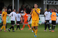 Tom Hopper of Southend United applauds their fans at the final whistle during Dover Athletic vs Southend United, Emirates FA Cup Football at the Crabble Athletic Ground on 10th November 2019