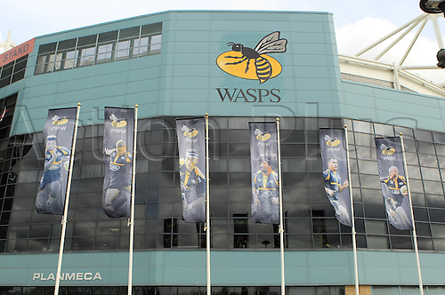 09.04.2016. Ricoh Arena, Coventry, England. European Champions Cup. Wasps versus Exeter Chiefs.  Wasps Player images adorn the flags outside the south entrance of the Ricoh Stadium