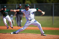 Eastern Michigan Eagles relief pitcher Justin Thompson (35) delivers a pitch during a game against the Dartmouth Big Green on February 25, 2017 at North Charlotte Regional Park in Port Charlotte, Florida.  Dartmouth defeated Eastern Michigan 8-4.  (Mike Janes/Four Seam Images)