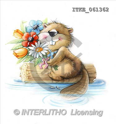 Isabella, CUTE ANIMALS, paintings, beaver, flowers(ITKE061362,#AC#) stickers illustrations, pinturas ,everyday