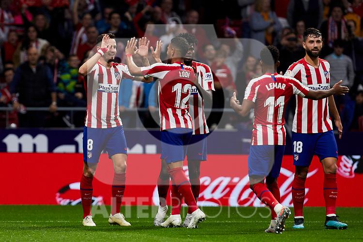 Saul Niguez (L) and Renan Lodi (R) celebrate goal of Atletico de Madrid during the La Liga match between Atletico de Madrid and Athletic Club de Bilbao at Wanda Metropolitano Stadium in Madrid, Spain. October 26, 2019. (ALTERPHOTOS/A. Perez Meca)