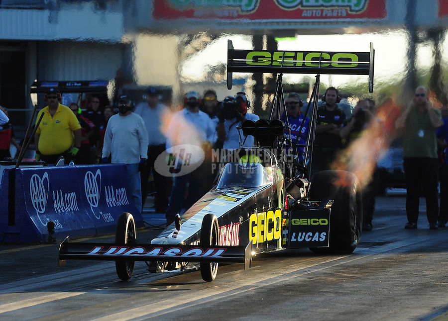 Sept. 23, 2011; Ennis, TX, USA: NHRA top fuel dragster driver Morgan Lucas during qualifying for the Fall Nationals at the Texas Motorplex. Mandatory Credit: Mark J. Rebilas-