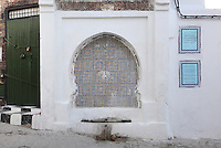The Basha Ahmed Ben Ali fountain, a recessed horseshoe arch in the whitewashed wall lined in coloured zellige tiles, with water trough below. The fountain was restored by the Basha Ahmed El-Rifi in 1721-1722, near Bab Saida in the medina or old town of Tetouan on the slopes of Jbel Dersa in the Rif Mountains of Northern Morocco. Tetouan was of particular importance in the Islamic period from the 8th century, when it served as the main point of contact between Morocco and Andalusia. After the Reconquest, the town was rebuilt by Andalusian refugees who had been expelled by the Spanish. The medina of Tetouan dates to the 16th century and was declared a UNESCO World Heritage Site in 1997. Picture by Manuel Cohen