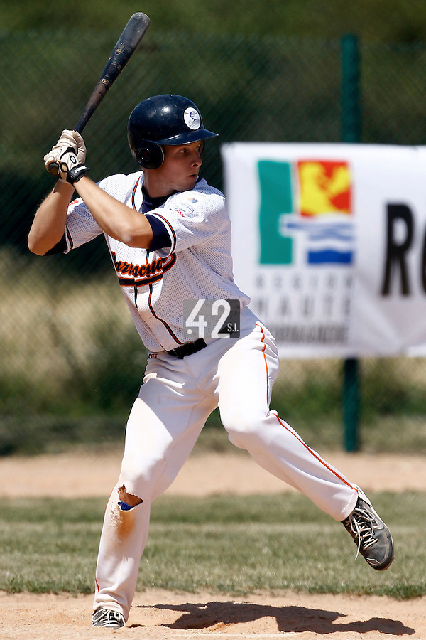 15 July 2011: Gregory Cros of Montpellier is seen at bat during the 2011 Challenge de France match won 10-7 by the Montpellier Barracudas over Montigny Cougars, in Les Andelys, near Rouen, France.