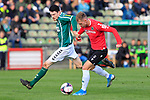 26.10.2019, Stadion Lohmühle, Luebeck, GER, Regionalliga Nord VFB Lübeck/Luebeck vs Hannover 96 II <br /> <br /> DFB REGULATIONS PROHIBIT ANY USE OF PHOTOGRAPHS AS IMAGE SEQUENCES AND/OR QUASI-VIDEO.<br /> <br /> im Bild / picture shows<br /> Sven Mende (VfB Luebeck) im Zweikampf gegen Benjamin Hadzic (Hannover 96 II)<br /> <br /> Foto © nordphoto / Tauchnitz