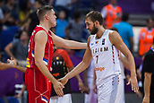 7th September 2017, Fenerbahce Arena, Istanbul, Turkey; FIBA Eurobasket Group D; Belgium versus Serbia; Power Forward Axel Hervelle #7 of Belgium greets with Center Vladimir Stimac #15 of Serbia at the end of the match