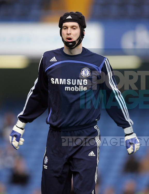 Chelsea's Petr Cech with his mask