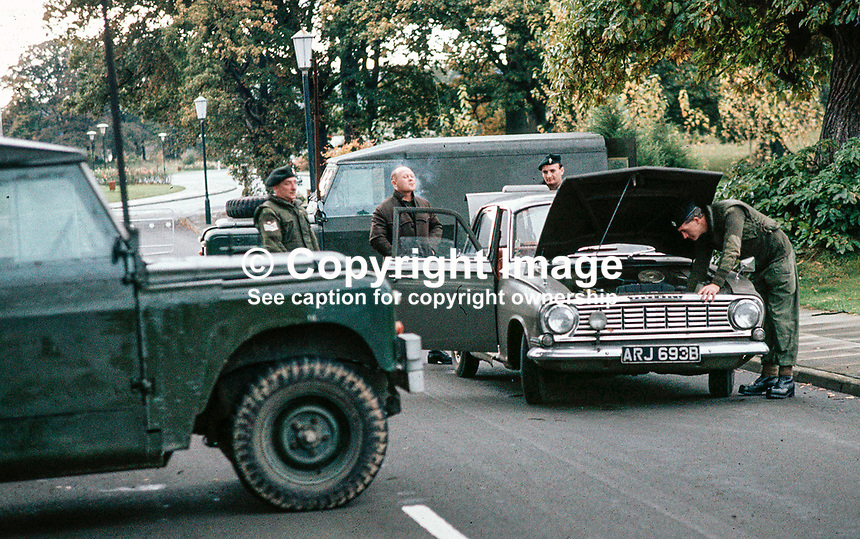 Car at UDR vehicle checkpoint, Belfast, N Ireland, 444/71, 197110000444..Copyright Image from Victor Patterson, 54 Dorchester Park, Belfast, UK, BT9 6RJ..Tel: +44 28 9066 1296.Mob: +44 7802 353836.Voicemail +44 20 8816 7153.Skype: victorpattersonbelfast.Email: victorpatterson@mac.com.Email: victorpatterson@ireland.com (back-up)..IMPORTANT: If you wish to use this image or any other of my images please go to www.victorpatterson.com and click on the Terms & Conditions. Then contact me by email or phone with the reference number(s) of the image(s) concerned.