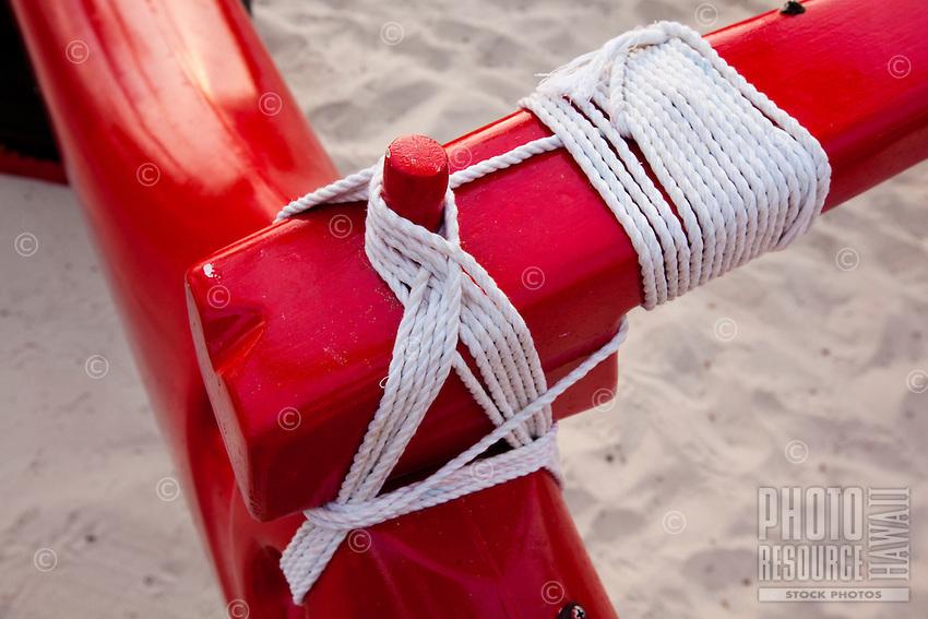 Outrigger Canoe rope lashing close up
