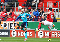Conor McAleny of Fleetwood Town and Richie Towell of Rotherham United during the Sky Bet League 1 match between Rotherham United and Fleetwood Town at the New York Stadium, Rotherham, England on 7 April 2018. Photo by Leila Coker.