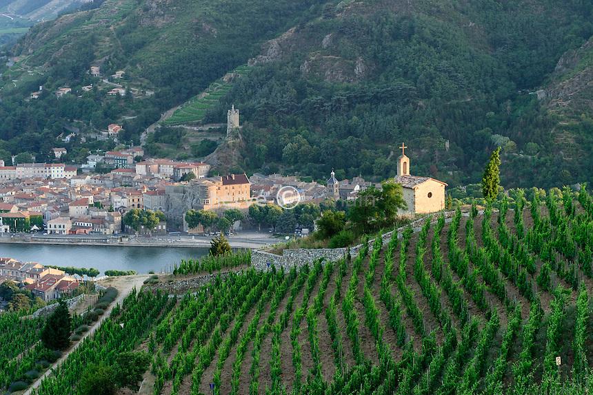 France, Tain-l'Hermitage, la chapelle de l'Hermitage ou Saint-Christophe au milieu des prestigieuses vignes de l'Hermitage, de l'autre côté du Rhône, la petite ville de Tournon-sur-Rhône en Ardèche