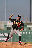 Antonio Senzatela (44) of the Modesto Nuts pitches during a game against the Lancaster JetHawks at The Hanger on April 25, 2015 in Lancaster, California. Lancaster defeated Modesto, 5-4. (Larry Goren/Four Seam Images)