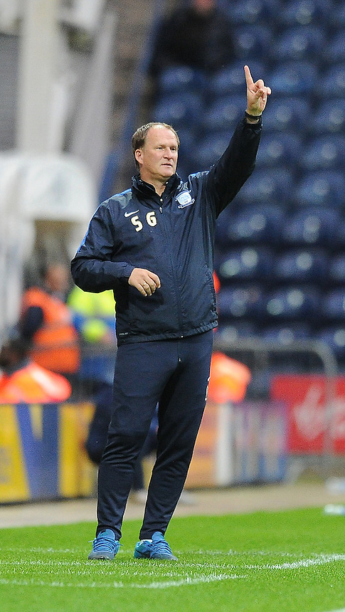 Preston North End's Manager Simon Grayson shouts instructions to his team from the dug-out<br /> <br /> Photographer Dave Howarth/CameraSport<br /> <br /> Football - Capital One Cup Second Round - Preston North End v Watford - Tuesday 25 August 2015 - Deepdale - Preston<br />  <br /> &copy; CameraSport - 43 Linden Ave. Countesthorpe. Leicester. England. LE8 5PG - Tel: +44 (0) 116 277 4147 - admin@camerasport.com - www.camerasport.com